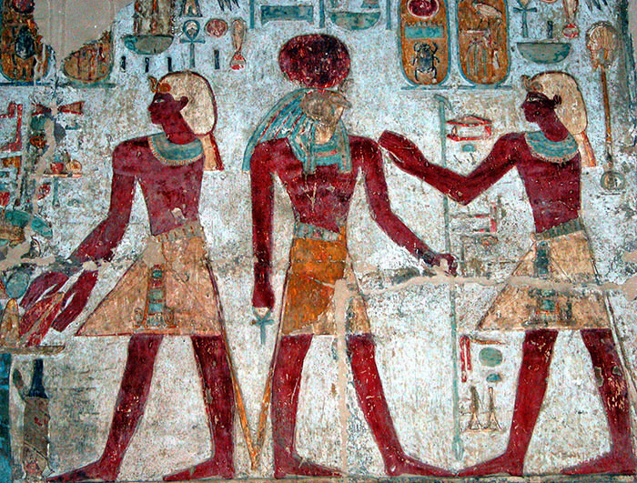Amun-Ra (center) in the temple of Amada
