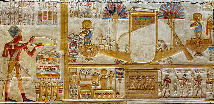 The sacred boats of Amun-Ra, Mut and Khonsu