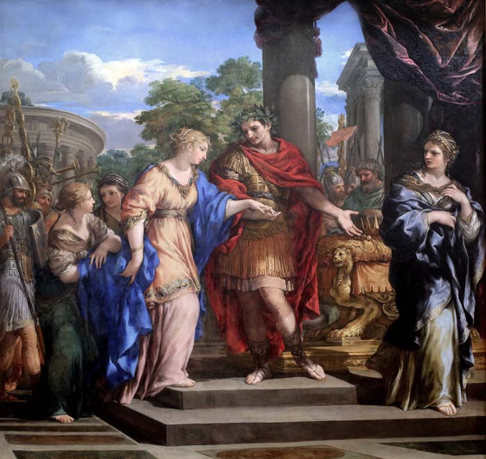 Caesar and Cleopatra, painting by Pietro Berrettini