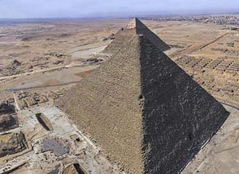 The Great Pyramid of Khufu at Giza view from the air