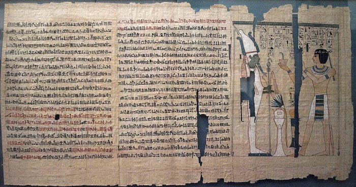 Papyrus from the Book of the Dead, depicting the High Priest Pinedjem II making an offering to Osiris