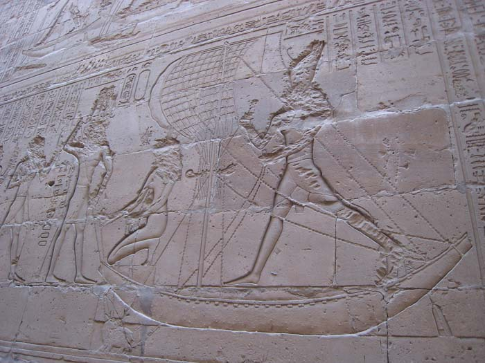 Depiction of Horus defeating Seth, at the Temple of Edfu