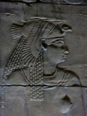 Isis carved in bas relief