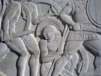 Relief at the monument of Leonidas, Thermopylae