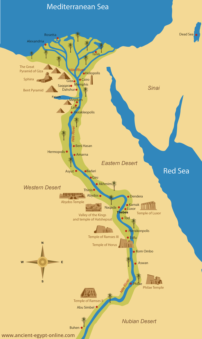 Ancient Egypt Maps - Map of egypt elevation