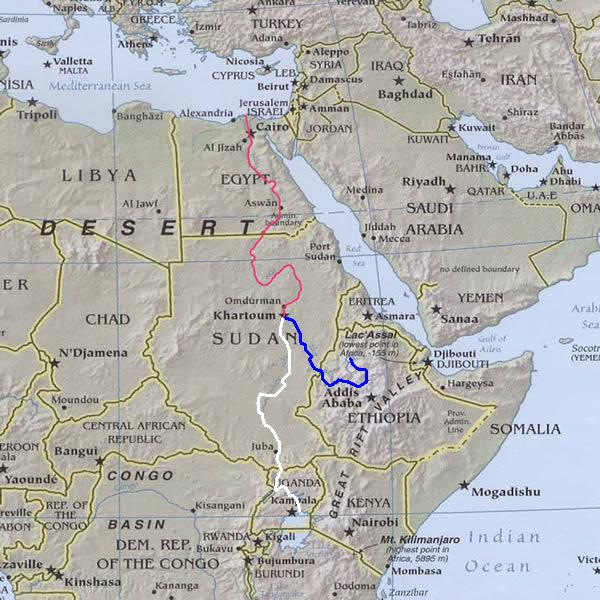 Blue Nile River In Africa Map.Map Of The Nile River Egypt