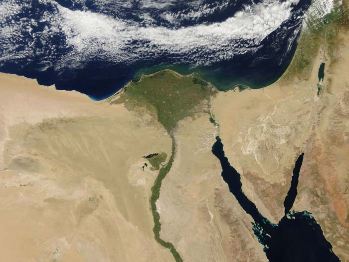 The Nile River as seen from the satellite