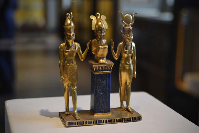 Osiris, with Isis and Horus