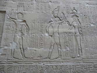 Reliefs depicting the story of Seth and Horus, at the Temple of Edfu