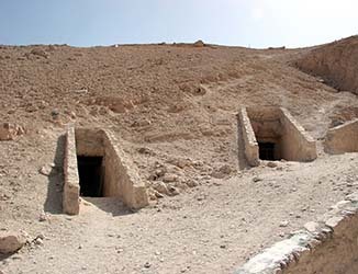 Tomb entrances in the Valley of the Kings
