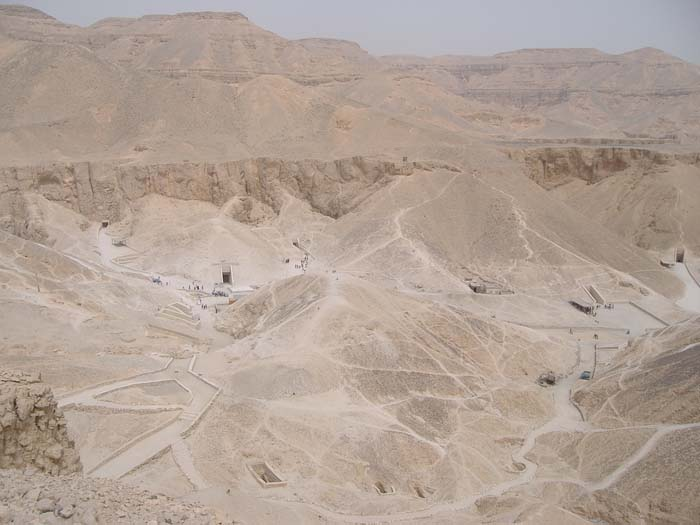 Paths leading to the tombs in the Valley of the Kings